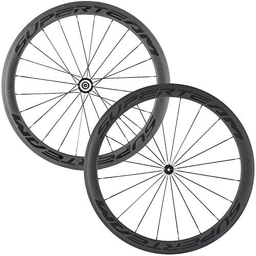 Superteam Carbon Fiber Road Bike Wheels 700C Clincher Wheelset 50mm Matte 23 Width (Transparent Decal)