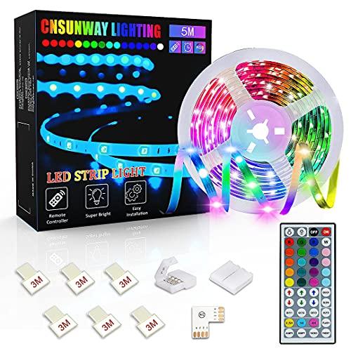 Tiras LED 5M, CNSUNWAY Luces LED RGB 5050 con Control Remoto de 44 Botones, Tira LED 20 Colores 8 Modos de Brillo y 6 opciones DIY para la Habitación,...