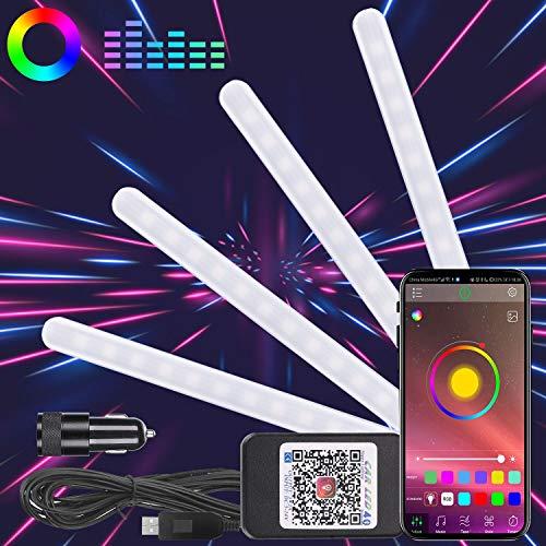 Winload LED Innenbeleuchtung Auto, 48 LED Innenraumbeleuchtung mit USB-Port, Mehrfarbig RGB Auto Atmosphäre Strip Lichter App Steuerbare,Musik & Sprachsteuerung Lichtleiste Kit mit Zigarettenanzünder