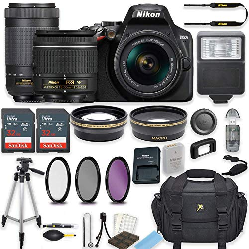 Nikon D3500 24.2 MP DSLR Camera (Black) w/AF-P DX NIKKOR 18-55mm f/3.5-5.6G VR Lens & AF-P DX NIKKOR 70-300mm f/4.5-6.3G ED Lens Bundle Includes 64GB Memory + Filters + Deluxe Bag + Accessories