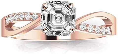 0.58 Ctw 14K White Gold Elegant Intertwine Twisting Split Shank Asscher Cut Diamond Engagement Ring (0.5 Ct D Color VS1 Clarity Center Stone)