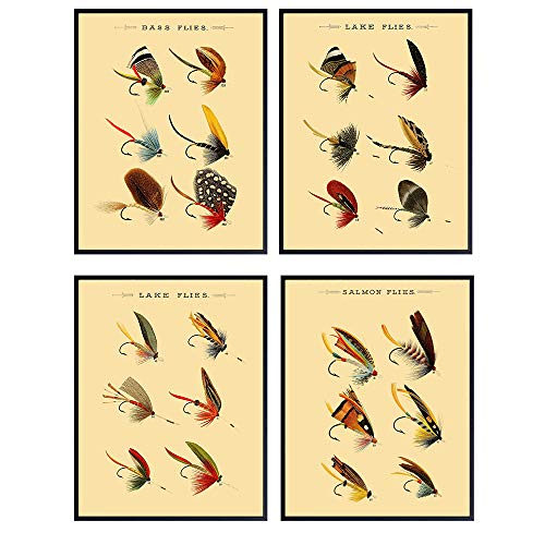Vintage Lures Wall Art Prints - Set of Four (8X10) Unframed Photos - Makes a Great Gift For Fly Fisherman and Lake or Beach House Decor