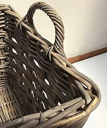 Excellent Quality Small Square Storage//Kindling Basket Very Strong Kuba Rattan