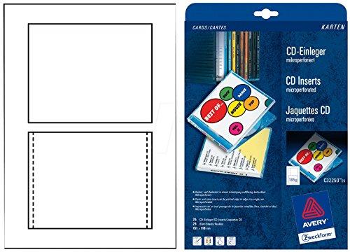 AVERY Zweckform C32251-25 CD-Einleger (25 Stück, 151 x 118 mm, 25 Blatt) weiß