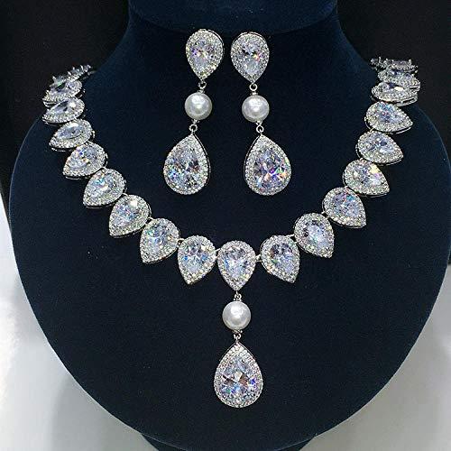 FWJSDPZ Juego de joyería para collar y pendientes de boda con forma cuadrada y circonita cúbica