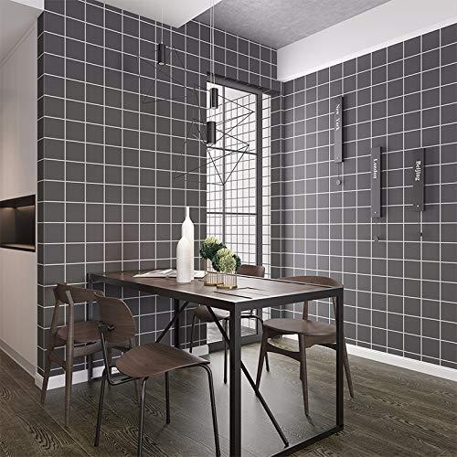 LZYMLG Papel pintado Pegatinas de pared impermeables Pvc liso autoadhesivo Dormitorio Dormitorio Sala de estar Tienda Renovación Decoración Tela escocesa gris oscuro