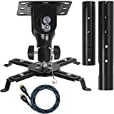 Cheetah Mounts APMEB Universal Projector Ceiling Mount Includes a 27' Adjustable Extension Pole and a Twisted Veins 15' HDMI Cable