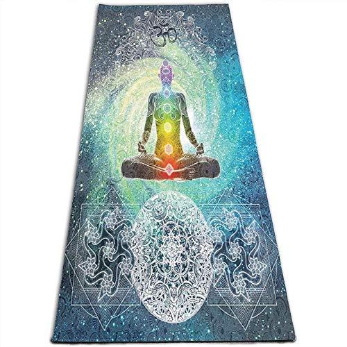 Toalla De Yoga Antideslizante,Colchoneta De Ejercicios De Fitness,Yoga Mandala Zen Meditación Hippie Chakra Impresa Colchoneta De Gimnasia Ecológica,Ejercicios De Suelo Y Colchoneta De Fitness Pila