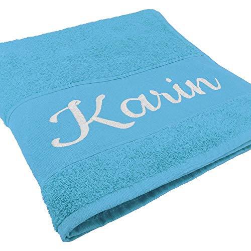 Handtuch mit Namen oder Wunschtext Bestickt, personalisiertes Duschtuch, individuelles Badetuch, 100% Baumwolle, 100 x 50 cm, hellblau