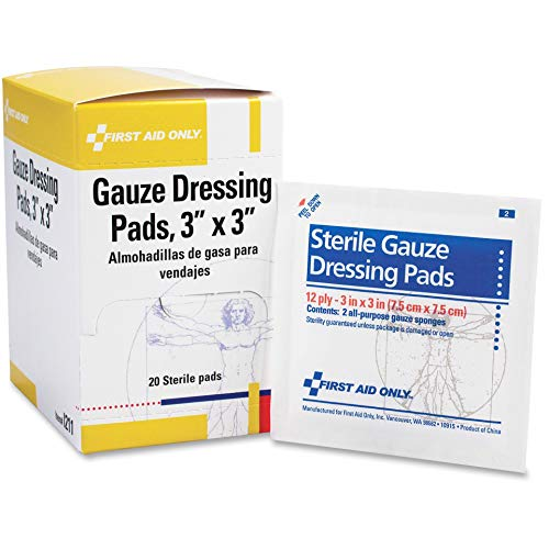 First Aid Only Gauze Dressing Pads, 10 Count , 20 Sterile Pads