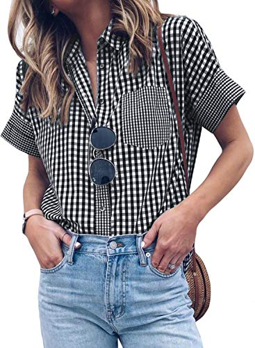 2020 fashion Blouses for women,Lightweight, Relaxed and Comfortableto Wear. Feature: Button down, V neck, stripes,short sleeve,loose fit design. Occasion:office,workout,outdoor camping and also casual daily wear,beach,party,holiday,street,shopping et...