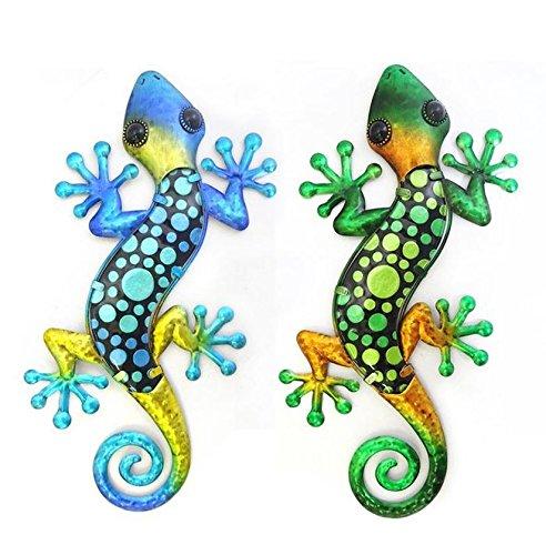 Gecko Salamandre Lot de 2 en Fer forgé & Verre Neuf Metal Bleu & Vert Deco 38cm Porte Bonheur
