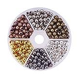 PandaHall 420pcs/scatola Perline distanziatore Spacer Beads in Ferro per la Collana di Gioielli Braccialetto, Tondo, Colore Misto, 5mm, Foro: 2mm, Argento, Oro, Bronzo Antico