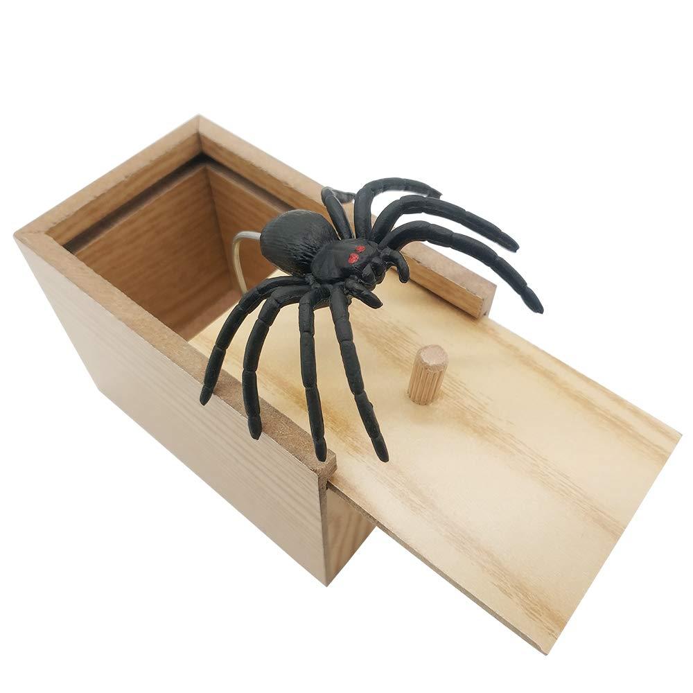 Wooden Prank Spider Scare Box Surprise Joke Horror Funny Prank Toys Halloween
