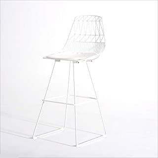 GBY Bar Stool Simple Modern Home high Chair Chair high Chair, Nordic Wrought Iron bar Chair Fashion Creative high Stool High Stool (Color : White)