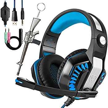Beexcellent Gaming Headset for PC PS4 Xbox One with Mic Over-Ear Headphones for Laptop Games with Noise Cancelling Stereo 51mm Driver Memory Earmuffs Volume Control Gift for Kids