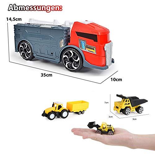 Himoto HSP 2in1 LKW mit integriertem Parkhaus, Spielzeug-Set im wunderschönen Design, leicht zu transportieren für Ihre Kinder, Autos, Hubschrauber und Baustellfahrzeuge