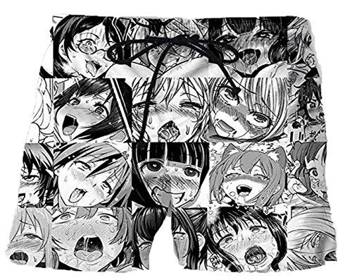HanPaint Herren-Boxer-Unterhosen Unterhosen Ahegao Anime Printed Cotton Unterwäsche Black M