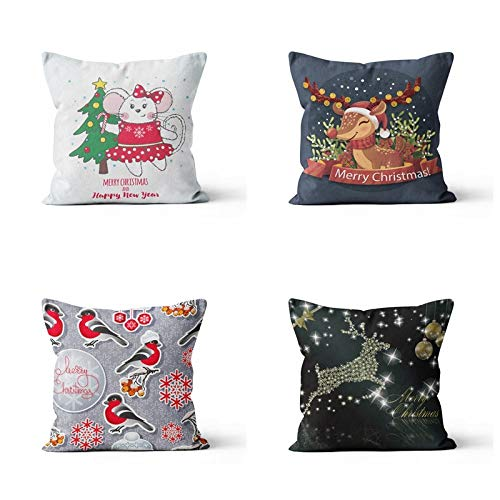ASDWA Throw Pillow Case,4Pcs Set Christmas Cushion Cover Linen Blend Rabbit Elk Little Bird Square Pillowcases For Livingroom Sofa Couch Car Bedroom Home Décor Xmas Gift 18 * 18Inche