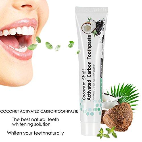 Dentifricio al carbone attivo, sbiancamento dei denti, sbiancamento dei denti, dentifricio nero naturale, 100% puro, sbiancamento al carbone, aroma di menta
