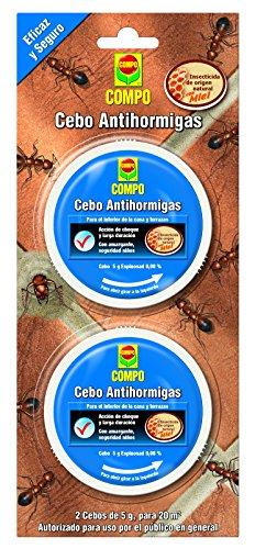 Compo Cebo antihormigas, Control de hormigas en el interior del hogar y alrededor de edificios, terrazas y patios, 2 unidades de 4.9 g