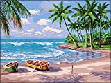 DIY 5D Diamond Painting by Number Kits,Beach Cross Stitch Full Drill Crystal Rhinestone Embroidery Pictures Arts Craft for Home Wall Decor, DIY Gifts for Adults Kids (16x12in)