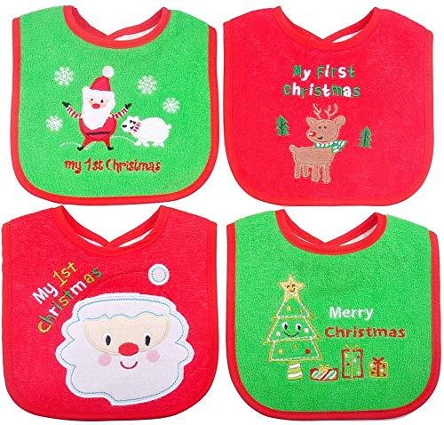 Bavaglini Primi regali di Natale per neonati, Bavaglino per neonato di Natale, 4 pezzi (Rosso/verde)