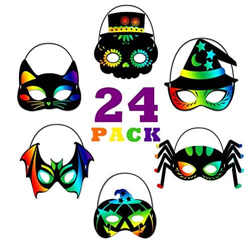 ORIENTAL CHERRY Halloween Crafts - 24PCS Magic Rainbow Scratch Art Masks Kits Bulk - Skeleton Cat Witch Pumpkin Bat Spider Decorations for Kids Ages 3-5 4-8 Classroom Birthday Party