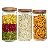 Glass Jars with Wooden Lids of 3 for Food Storage and Kitchen Organization Made by Borosilicate Glass Safe for Pasta, Cereal, Flour, Nuts, for Kitchen & Pantry Organisation, 1000ml