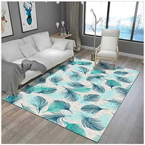Mmxhn Feather 3D Printing Carpet Polyester Carpets For Living Room Non-Slip Anti-Wrinkle Bedroom Decor Rug Bedside Carpet-160X230Cm