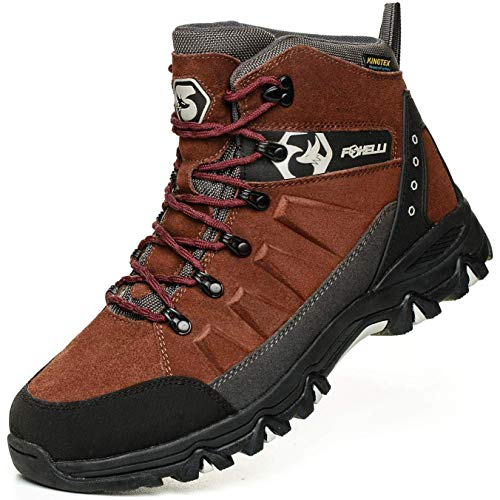 Foxelli Men's Hiking Boots – Waterproof Suede Leather Hiking Boots for Men, Breathable, Comfortable & Lightweight Hiking Shoes Brown
