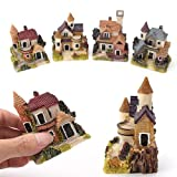 ONETOZE Mini Resina Villaggio Casa Fata Giardino Suite Statue Esterni Cottage Sculture In Miniatura Paglia Casa Paesaggio Micro Decorare Ornamento
