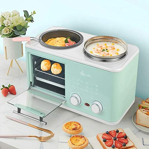 Small Toaster Oven with Nonstick Omelette Pan Removable Egg Maker Electric Hot Pot 3 in 1 Breakfast Station Compact Familie Breakfast Maker Design