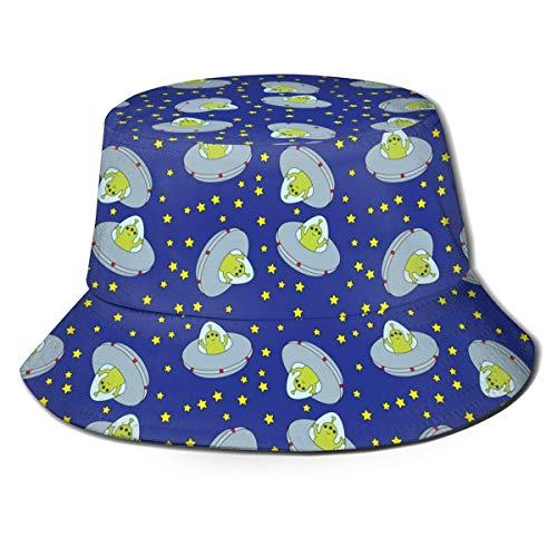 Lawenp Mini Nave Espacial Blue Alien Unisex impresión Sombrero de Cubo patrón Sombreros de Pescador Verano Reversible Tapa Plegable Mujeres Hombres niña niño