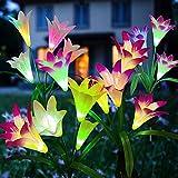 Luz Solar Exterior Jardín, ZVO 4 piezas Solares Flores de Lirio, LED para Hadas Lámparas, 16 Luces Solares de Lirio 7 Multi Color Cambiante Decoración para Patio Césped (blanco rosa morado azul)