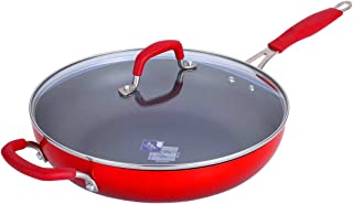 Momscook Saute Pan 12-Inch Classic Brights Hard Enamel Aluminum Nonstick Covered Skillet, Dishwasher Safe Sautepan, Red Gradient
