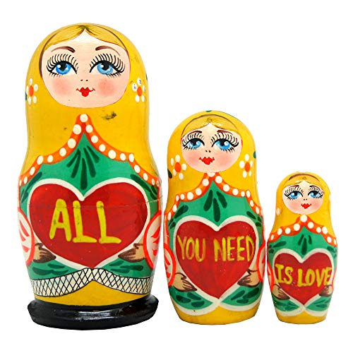 """""""All You Need is Love"""" 3-Nest Doll Russian Matryoshka Wooden Stacking Nested Dolls Wooden Handmade Toys Gift for Children Christmas Mother's Day Birthday Home Decor Wishing Gift 14706-1"""