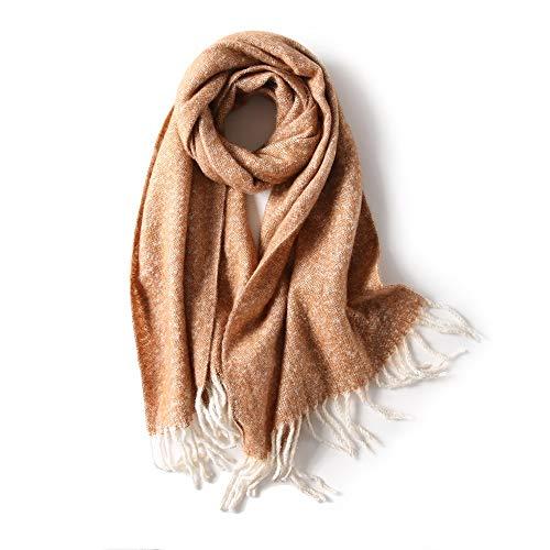 Bufanda Cálido Invierno de Mujer Párrafo Largo Estilo Europeo y Americano Color sólido Borla Moda Salvaje Collar (Color : C)
