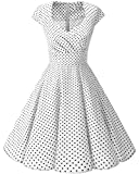 Women's 50s 60s Vintage Party Cap Sleeve Cocktail Swing Dress White Small Black Dot XL