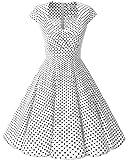 Bbonlinedress Vestido Corto Mujer Retro Años 50 Vintage Escote En Pico White...