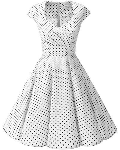 bbonlinedress 1950er Vintage Retro Cocktailkleid Rockabilly V-Ausschnitt Faltenrock White Small Black Dot XL