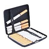 RDJSHOPS Estuches de Cigarrillos portátiles Estuche de Cigarrillos de Metal Ultrafino for Hombres Funda con Tapa con Personalidad Porta Cigarrillos de Acero Inoxidable Esmerilado 20 Piezas Negro