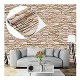 Carta da parati autoadesiva, effetto mattone/pietra, decorazione da parete per mobili, camera da letto, soggiorno, ufficio, beige
