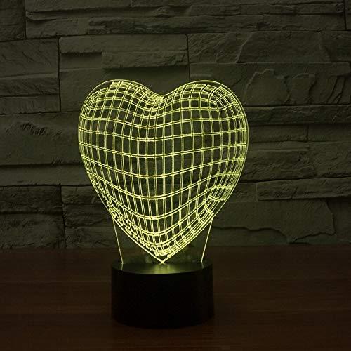 Luz de noche creativa 3d con líneas de corazón de pie USB lámpara de mesa decoración decoración de la sala de estar regalo
