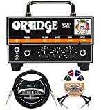 Orange Amps Micro Dark 20W Tube Hybrid Amplifier Head for Electric Guitars Bundle with Blucoil 10' Straight Instrument Cable (1/4'), 2-Pack of Pedal Patch Cables, and 4-Pack of Celluloid Guitar Picks