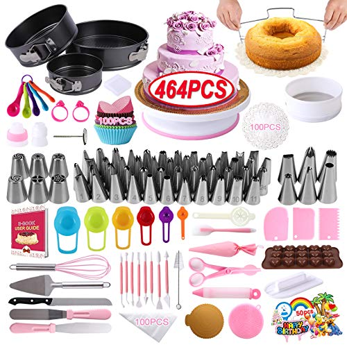 Cake Decorating Supplies Kit,DAFONSO 464 Pcs with Non-Slip Cake Turntable and Springform Cake Pans,Icing Piping Tips Set,Chocolate Mould & Muffin Cups,Baking Supplies for Beginners and Cake Lovers