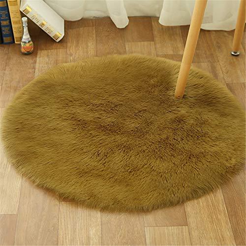 XDKS Alfombra de piel sintética suave y esponjosa, redonda, de piel de oveja sintética, alfombra de piel de cordero, alfombra de imitación de piel de cordero (90 cm de diámetro, naranja)