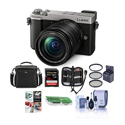 Panasonic Lumix DC-GX9 20.3MP Mirrorless Camera with 12-60mm F3.5-5.6 Lens, Silver - Bundle with Camera Bag, 32GB SDHC U3 Card,...