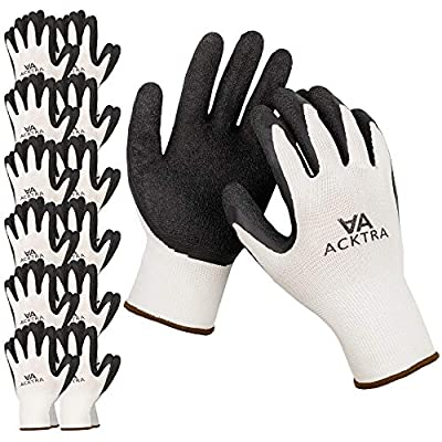 ACKTRA Coated Nylon Safety WORK GLOVES 12 Pairs, Knit Wrist Cuff, Multipurpose, for Men & Women, WG008 White Polyester, Black Latex, X-Large