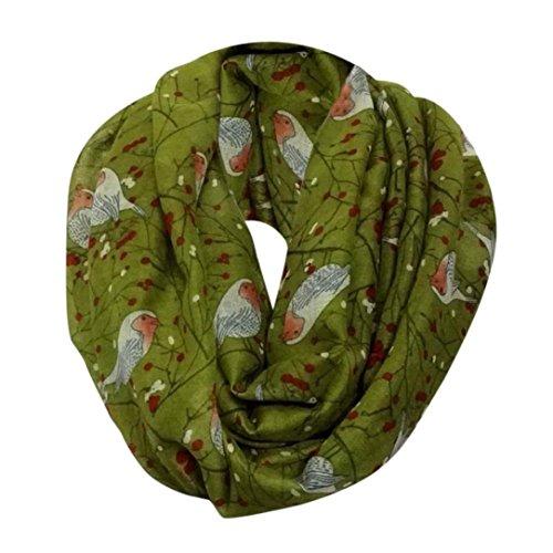 OVERDOSE Schal, Mode Damen Womens Cute Bird Print Schal Weiche Schals Winter Warm Halstücher Tücher